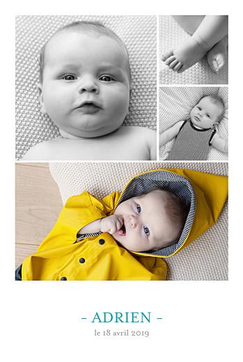 Faire-part de naissance Moderne 4 photos blanc