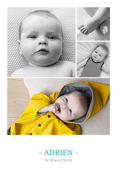 Faire-part de naissance Moderne 4 photos blanc finition