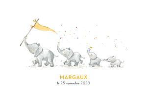 Faire-part de naissance orange 4 éléphants en famille jaune