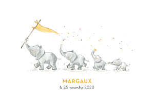 Faire-part de naissance original 4 éléphants en famille jaune