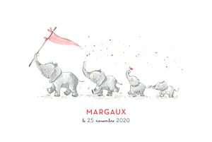 Faire-part de naissance petite alma  4 éléphants en famille rose