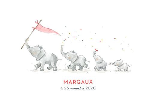 Faire-part de naissance 4 éléphants en famille rose
