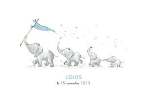 Faire-part de naissance bleu 4 éléphants en famille bleu