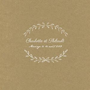 Faire-part de mariage marron poème (4 pages) kraft