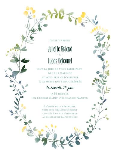 Faire-part de mariage Bouquet sauvage (portrait) jaune