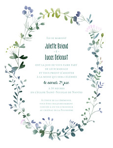 Faire-part de mariage violet bouquet sauvage (portrait) rose
