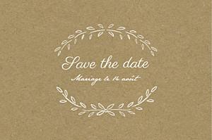 Save the date marron poème kraft