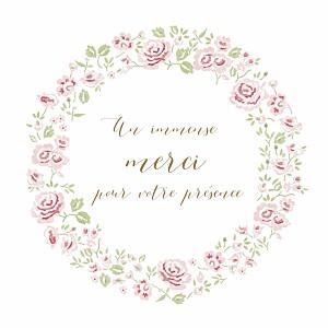 Carte de remerciement vintage petite couronne de roses blanc