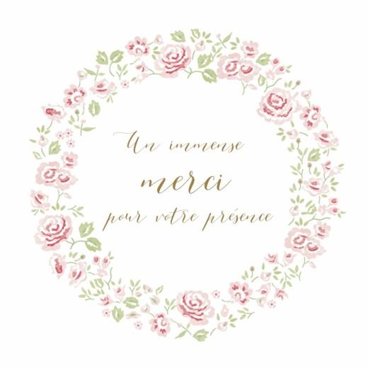 Carte de remerciement Petite couronne de roses blanc