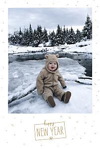 Carte de voeux original paillettes d'hiver blanc