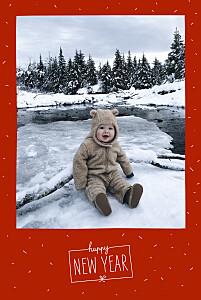 Carte de voeux Paillettes d'hiver rouge