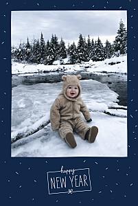 Carte de voeux bleu paillettes d'hiver bleu marine
