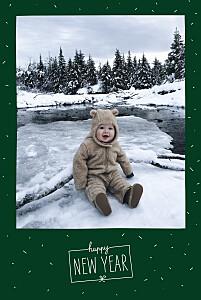 Carte de voeux vert paillettes d'hiver vert sapin