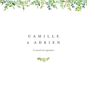 Faire-part de mariage original canopée vert