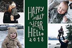 Carte de voeux vert welcome new year vert