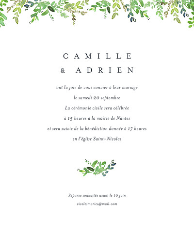 Faire-part de mariage Canopée (portrait) vert finition