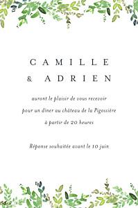 Carton d'invitation mariage vert canopée vert