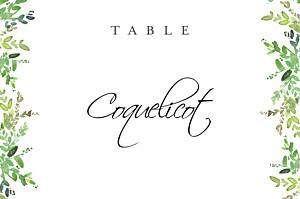Marque-table mariage blanc canopée vert