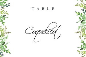 Marque-table mariage vert canopée vert