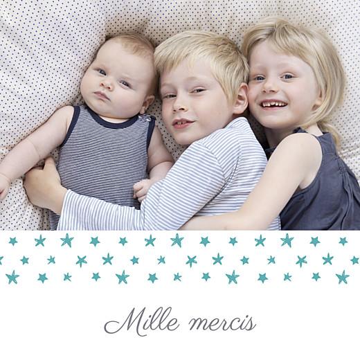 Carte de remerciement Petit ruban étoilé photo blanc turquoise