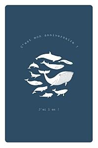 Carte d'anniversaire baleine extraordinaire bleu
