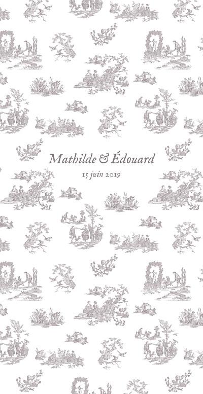 Menu de mariage Toile de jouy (4 pages) taupe finition
