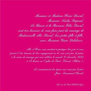 Faire-part de mariage rose traditionnel framboise