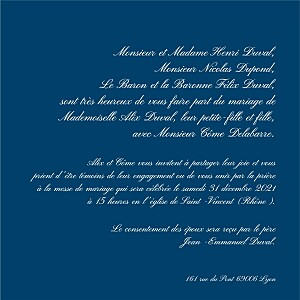 Faire-part de mariage traditionnel traditionnel bleu foncé