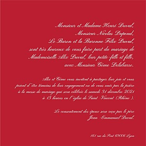 Faire-part de mariage Traditionnel rouge