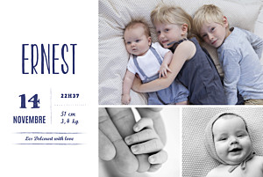 Faire-part de naissance petit frère ou petite soeur bonne nouvelle (dorure) bleu