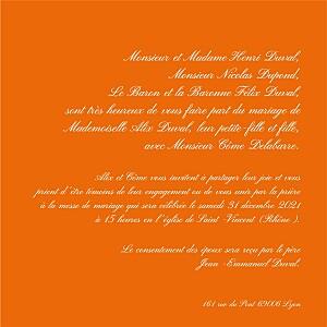 Faire-part de mariage orange traditionnel orange