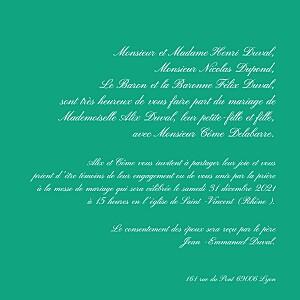 Faire-part de mariage Traditionnel vert