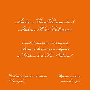 Carton d'invitation mariage traditionnel traditionnel (carré) orange