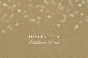 Carton d'invitation mariage blanc polka kraft