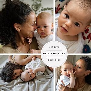 Faire-part de naissance tradition médaillon chic 4 photos rv blanc