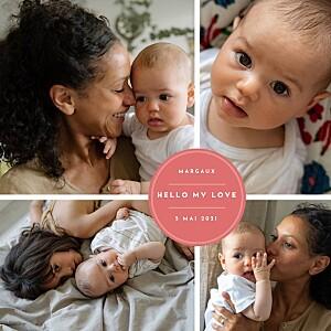 Faire-part de naissance rouge médaillon chic 4 photos rv rouge