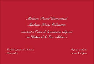 Carton d'invitation mariage rouge traditionnel rouge