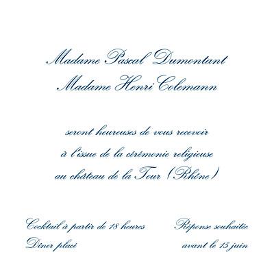 Carton d'invitation mariage Grand traditionnel blanc finition