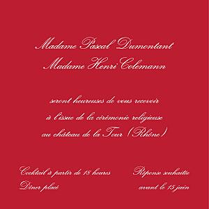 Carton d'invitation mariage Grand traditionnel rouge