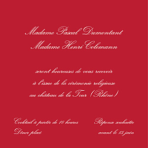 Carton d'invitation mariage rouge grand traditionnel rouge