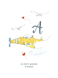 Affiche mixte abc… avion bleu