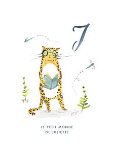 Affichette animaux abc… jaguar bleu