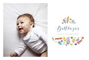 Faire-part de naissance avec photo balade en forêt blanc
