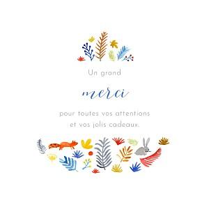 Carte de remerciement petit frère ou petite soeur petite balade en forêt blanc