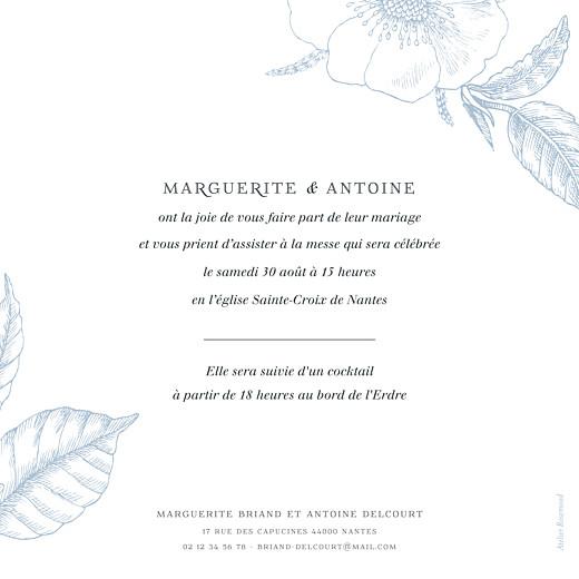 Faire-part de mariage Gravure simple (rv) bleu - Page 2