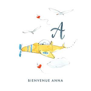 Faire-part de naissance petit frère ou petite soeur abc... avion blanc