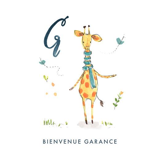 Faire-part de naissance Abc... girafe blanc