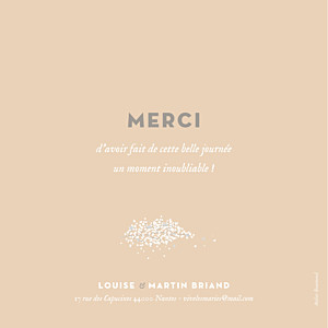 Carte de remerciement mariage beige gypsophile rose