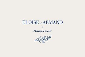 Carton d'invitation mariage beige nature chic bleu