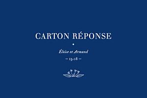 Carton réponse mariage classique nature chic bleu